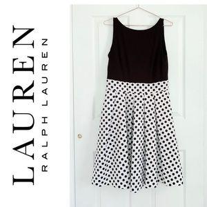 Ralph Lauren Black White Polka Dot Cocktail Dress